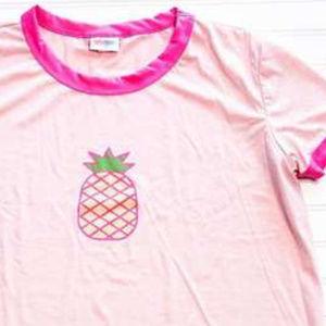 Lularoe XL Liv Graphic T Shirt Pineapple Pink